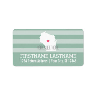 Wisconsin Map Home State Love with Custom Heart Address Label