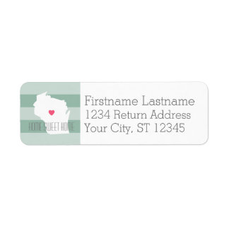Wisconsin Map Home State Love with Custom Heart Return Address Label