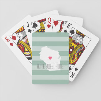 Wisconsin Map Home State Love with Custom Heart Playing Cards