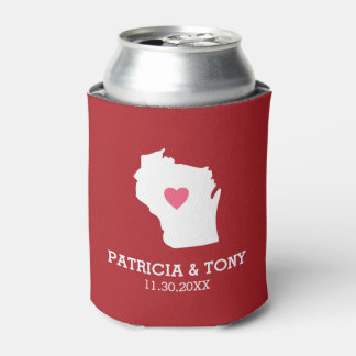 Wisconsin Map Home State Love with Optional Heart Can Cooler