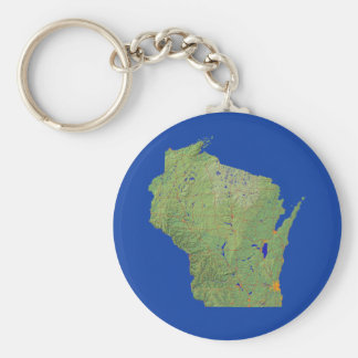 Wisconsin Map Keychain