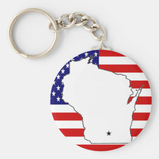 WISCONSIN MAP KEY CHAINS