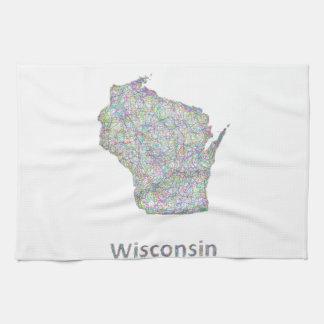 Wisconsin map kitchen towel