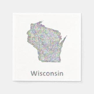 Wisconsin map napkin