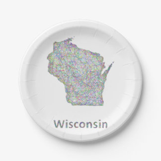 Wisconsin map paper plate