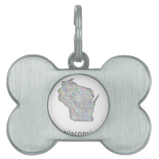Wisconsin map pet name tag