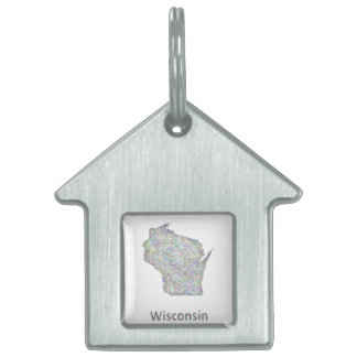 Wisconsin map pet tag