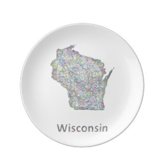 Wisconsin map porcelain plate