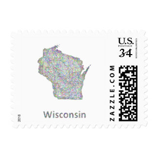 Wisconsin map postage