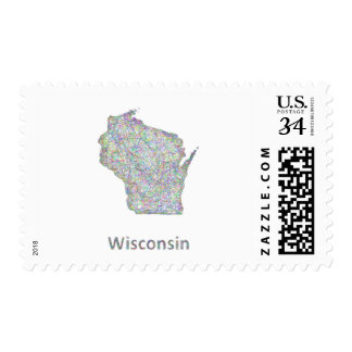 Wisconsin map postage stamp