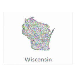 Wisconsin map postcard
