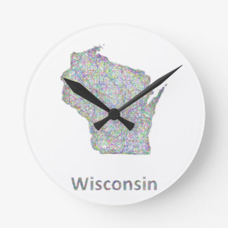 Wisconsin map round clock