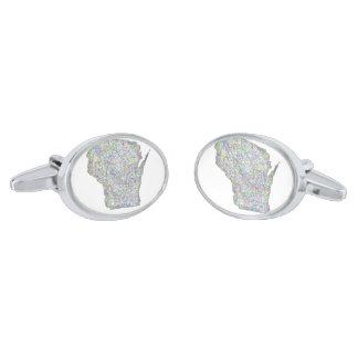 Wisconsin map silver cufflinks
