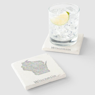 Wisconsin map stone coaster
