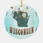 Wisconsin Map With Lovely Birds Ceramic Ornament