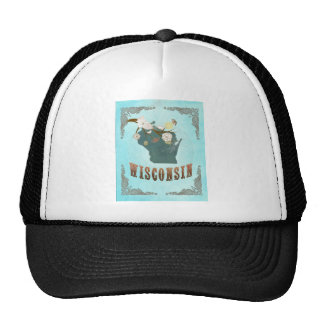 Wisconsin Map With Lovely Birds Trucker Hat