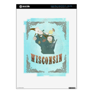 Wisconsin Map With Lovely Birds Decal For iPad 3