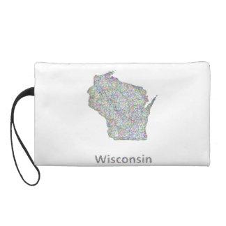 Wisconsin map wristlet purse