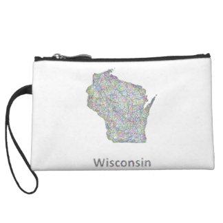 Wisconsin map wristlet wallet