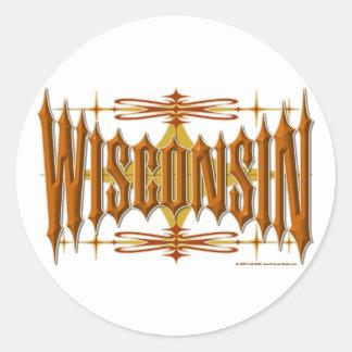 Wisconsin Metal Classic Round Sticker