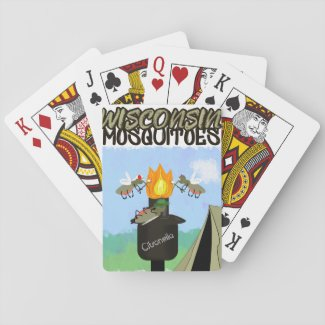 Wisconsin Mosquitoes Cartoon - Camping by Tiki Playing Cards