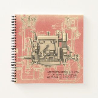 Wisconsin Motor Milwaukee Wisconsin gas engine X Notebook