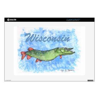 "Wisconsin Muskie 15"" Laptop Decal"