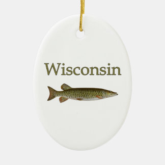 Wisconsin Musky Ceramic Ornament