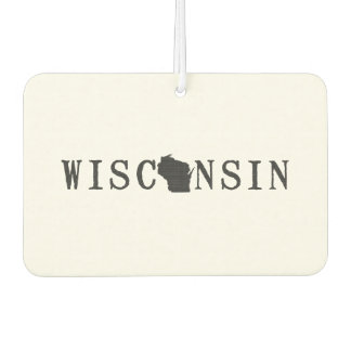 Wisconsin Name with State Shaped Letter Car Air Freshener