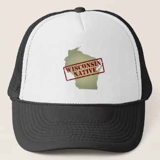 Wisconsin Native Stamped on Map Trucker Hat