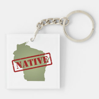 Wisconsin Native with Wisconsin Map Keychain