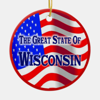 Wisconsin Double-Sided Ceramic Round Christmas Ornament