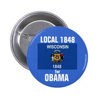 Wisconsin para Obama 2012 Pin