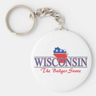 Wisconsin Patriotic Keychain