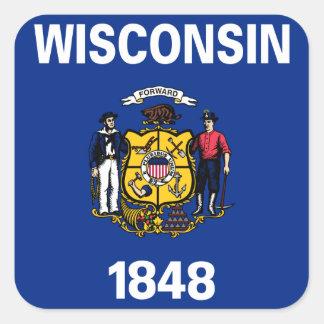 Wisconsin Pegatina Cuadrada