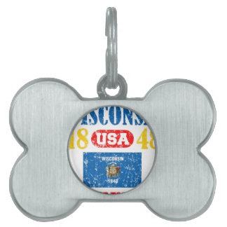 WISCONSIN PERFECT TOGETHER DISTRESSED PRODUCTS PET ID TAG