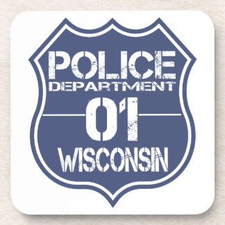 Wisconsin Police Department Shield 01 Beverage Coaster