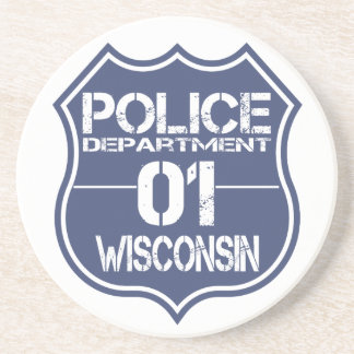 Wisconsin Police Department Shield 01 Drink Coaster