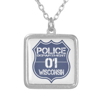 Wisconsin Police Department Shield 01 Square Pendant Necklace