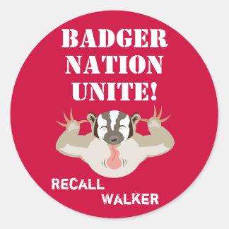 Wisconsin Politics_Badger Nation Unite_Recall Classic Round Sticker