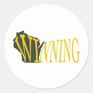 Wisconsin que gana pegatina redonda