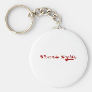Wisconsin Rapids Wisconsin Classic Design Basic Round Button Keychain