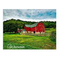 Wisconsin Red Barn Farm Scenic View Postcard