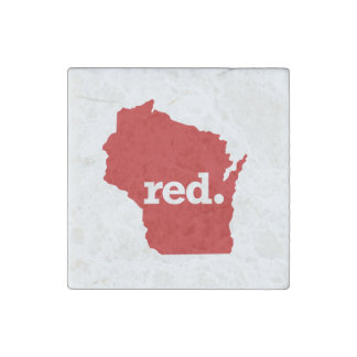 WISCONSIN RED STATE STONE MAGNET