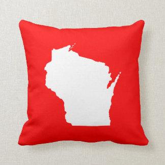 Wisconsin rojo y blanco almohada