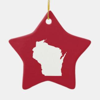 Wisconsin rojo y blanco adorno de navidad