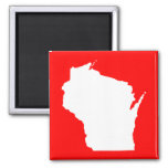 Wisconsin rojo y blanco iman para frigorífico
