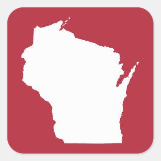Wisconsin rojo y blanco colcomania cuadrada
