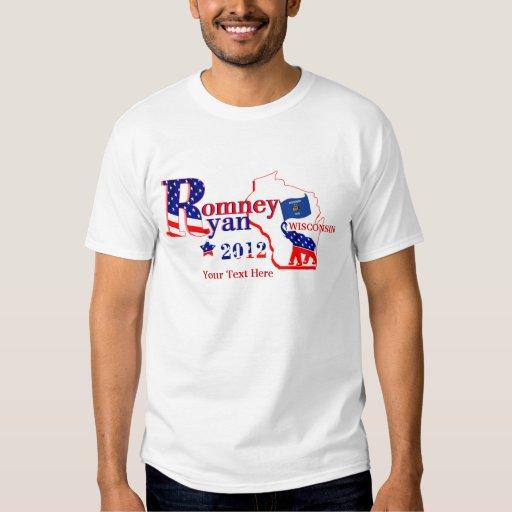 Wisconsin Romney y camiseta 2012 de Ryan 2 Camisas