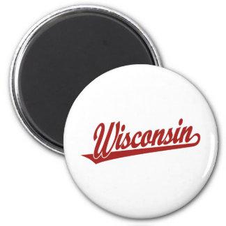 Wisconsin script logo in red 2 inch round magnet